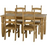 Corona Light Waxed Solid Pine Dining Table with Four Chairs