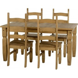Corona Distressed Light Waxed Solid Pine Dining Table Four Chairs