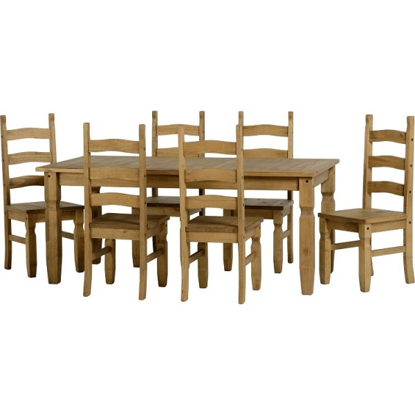Corona Distressed Light Waxed Solid Pine Dining Table Six Chairs