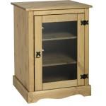Corona Distressed Light Waxed Solid Pine Hi-Fi Entertinment Cabinet Glass Door