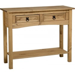Corona Rustic Light Waxed Solid Pine Console Side Hall Table with Two Drawers