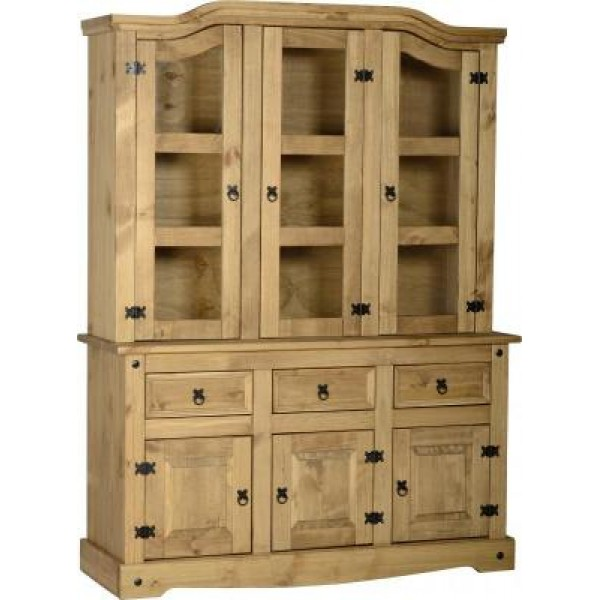 Corona Light Waxed Solid Pine Three Door Hutch with Sideboard