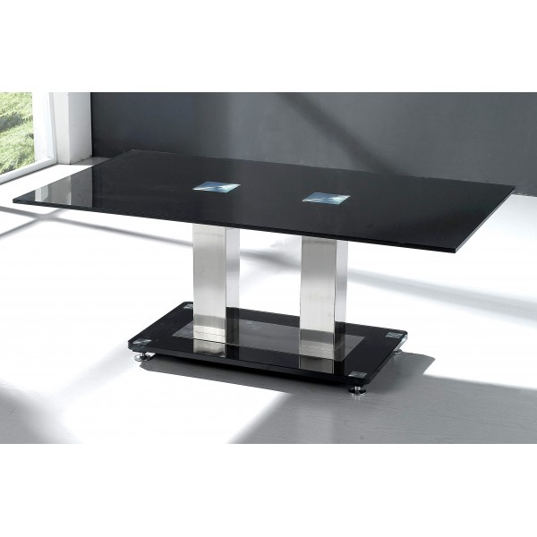 Trinity Coffee Table Black Tempered Glass Rectangle Top Chrome Frame