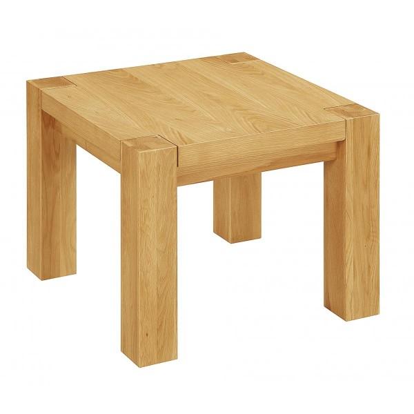 Zeus Solid Oak Lamp Side End Table - Light Oak Finish