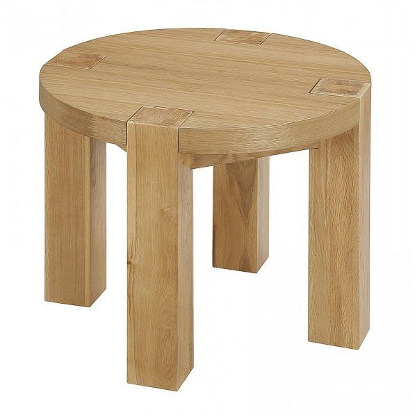 Zeus Solid Oak Round Lamp Side End Table - Light Oak Finish