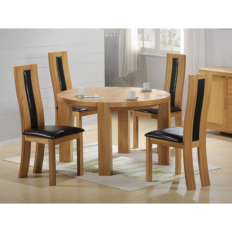 Zeus Round Solid Oak Dining Table with Six Chairs Light Oak Finish