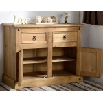 Corona Light Waxed Solid Pine Sideboard Cupboard Cabinet Buffet