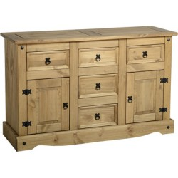 Corona Light Waxed Solid Pine Sideboard with 2 Door & 5 Drawers