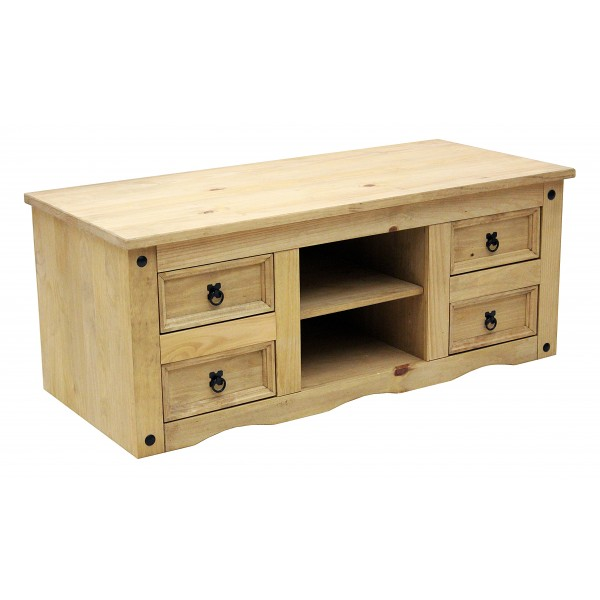 Corona Light Waxed Solid Pine TV Cabinet with Four Drawers