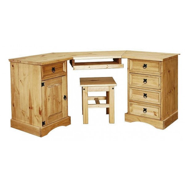 Corona Distressed Light Waxed Solid Pine Large Corner Computer Desk with Stool