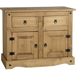 Corona Light Waxed Solid Pine Sideboard Cupboard with 2 Door & 2 Drawers