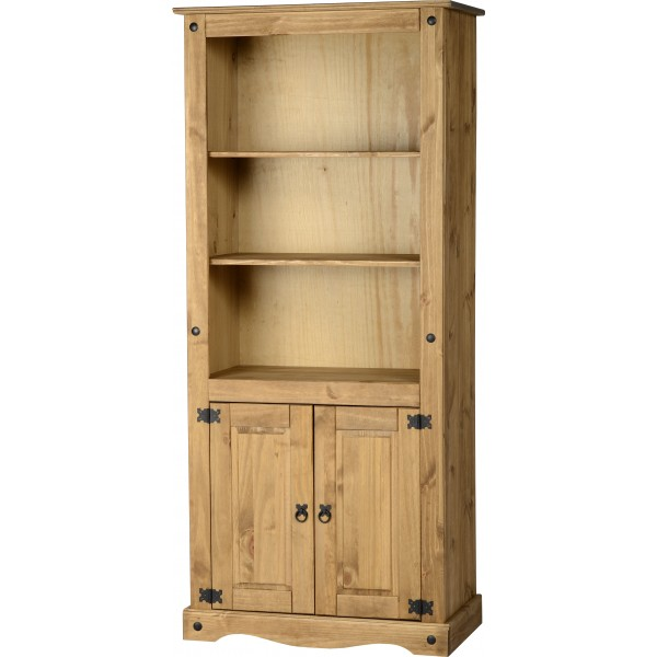 Corona Distressed Light Waxed Solid Pine Two Shelf Bookcase with Doors