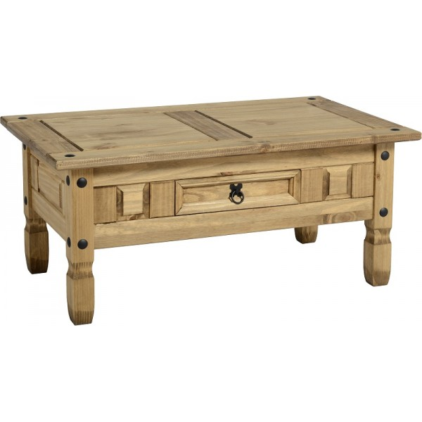 Corona Distressed Light Waxed Solid Pine Coffee Table