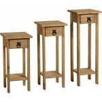 Corona Distressed Waxed Solid Pine Three Piece Plant & Display Stand