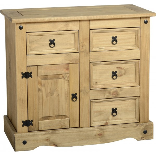 Corona Light Waxed Solid Pine Sideboard Cabinet with 1 Door & 4 Drawers