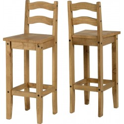 Corona Light Waxed Solid Pine Wooden Bar Stools High Chairs - Pack of Two