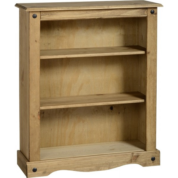 Corona Distressed Light Waxed Solid Pine Two Shelf Small Bookcase