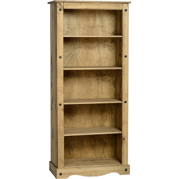 Corona Distressed Light Waxed Solid Pine Tall Four Shelf Bookcase
