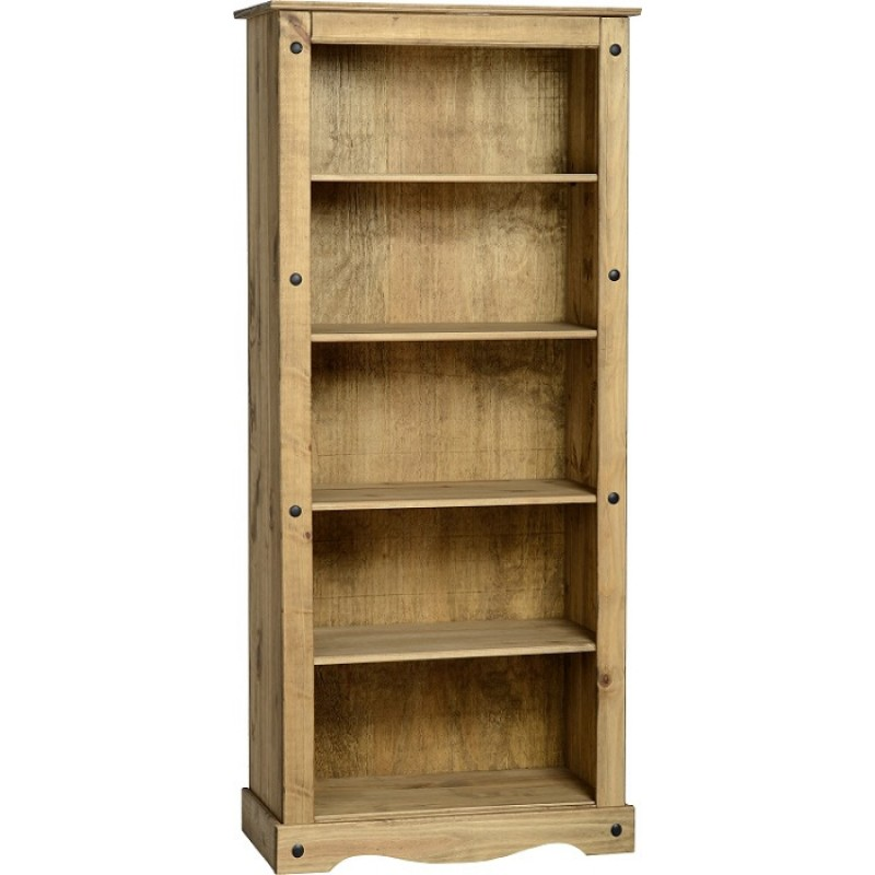 Corona Distressed Light Waxed Solid Pine Tall Four Shelf
