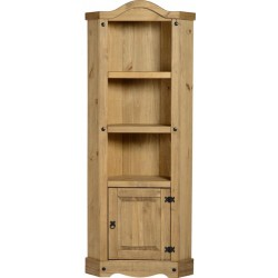 Corona Distressed Light Waxed Solid Pine Corner Display Unit