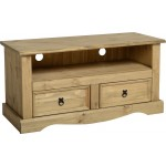 Corona Distressed Light Waxed Solid Pine TV Cabinet Two Drawers
