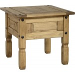 Corona Distressed Light Waxed Solid Pine Lamp Side End Coffee Table - Pack of Two