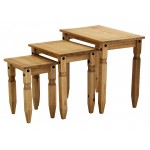 Corona Distressed Light Waxed Solid Pine Nest of Tables