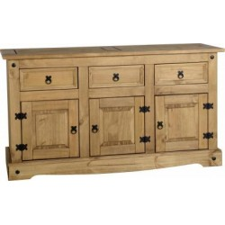 Corona Light Waxed Solid Pine Sideboard Cupboard with 3 Doors & 3 Drawers