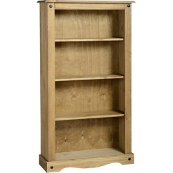 Corona Distressed Light Waxed Solid Pine Three Shelf Bookcase