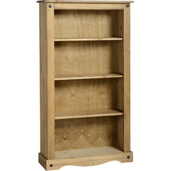 Corona Distressed Light Waxed Solid Pine Three Shelf Bookcase