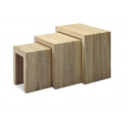 Soho Wooden Nest of Tables Lamp Side End Table Set - Natural Finish
