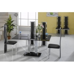 Trinity Kitchen Dining Table Set Square Black Glass Chrome Frame Two Black Leather Chairs