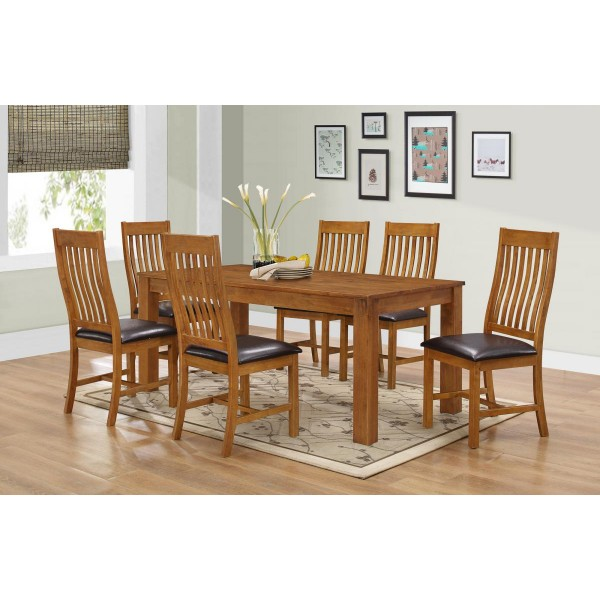 Adderley Large Wooden Dining Table with Six Chairs Walnut Finish