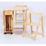 Butterfly Two Drop Leaf Dining Table Four Foldable Chairs - Natural finish