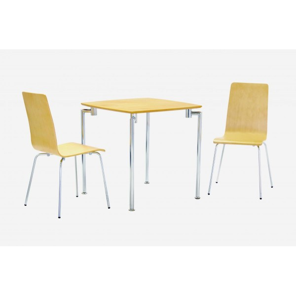 Fiji Small Square Wooden Chrome Dining Table Set With Two Chairs Beech Finish