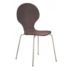 Four Fiji Round Wooden and Chrome Dining Chairs - Walnut Finish