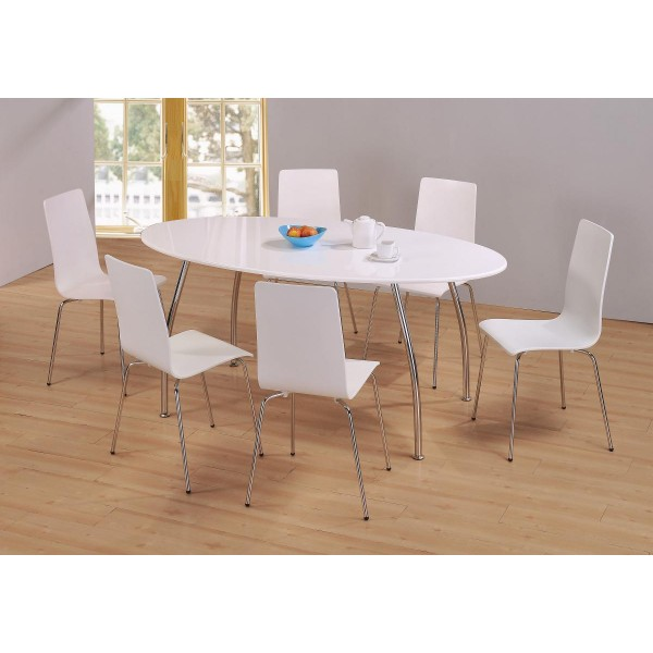 Fiji Large White Gloss Oval Dining Table with Six White Chairs