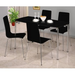 Fiji Rectangle Dining Table with Four Chairs - Black Gloss Finish