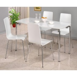Fiji Rectangle Dining Table with Four Chairs - White Gloss Finish