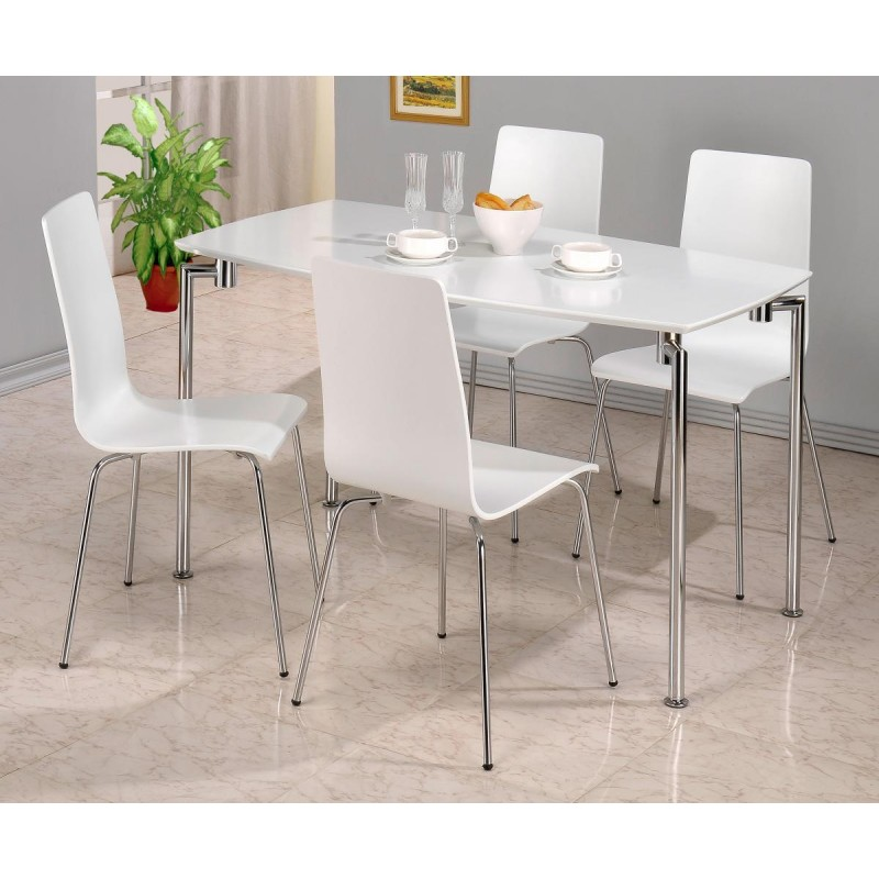 D313 Modern Dining Room Set In White Lacquer Finish: Fiji Rectangle Dining Table With Four Chairs
