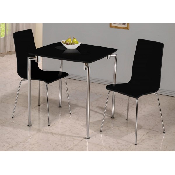 Fiji Small Square Dining Table with Two Chairs - Black Gloss Finish