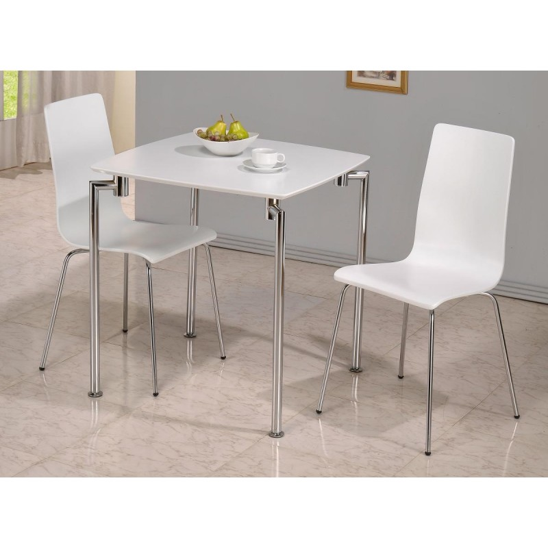 Fiji Small Square Dining Table With Two Chairs White Gloss Finish