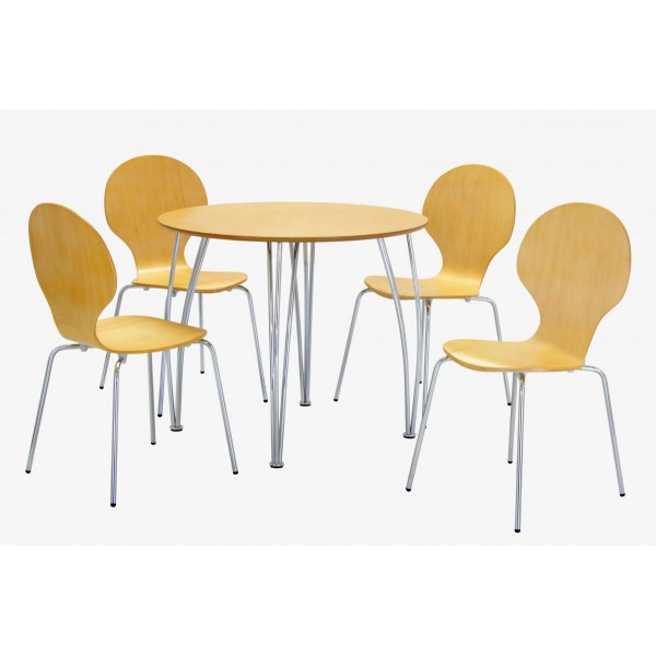 Fiji Round Wooden Chrome Dining Table Four Chairs Beech Finish