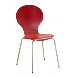 Four Fiji Round Wooden and Chrome Dining Chairs - Red Finish