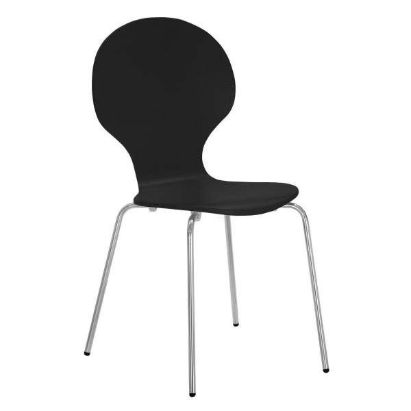 Four Fiji Round Wooden and Chrome Dining Chairs - Black Finish