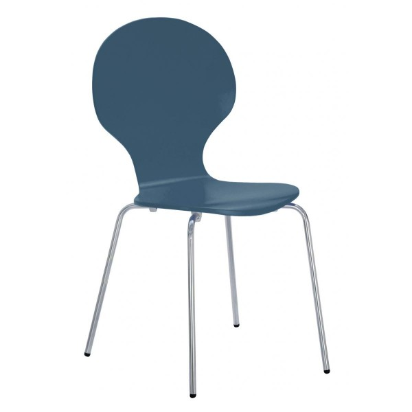 Four Fiji Round Wooden and Chrome Dining Chairs - Blue Finish
