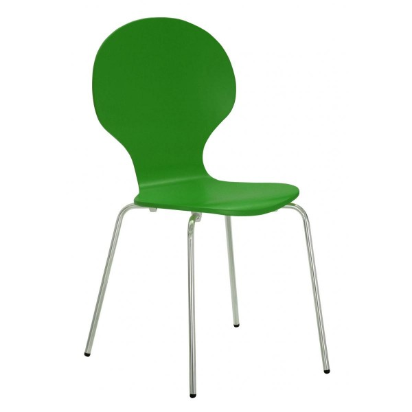 Four Fiji Round Wooden and Chrome Dining Chairs - Green Finish