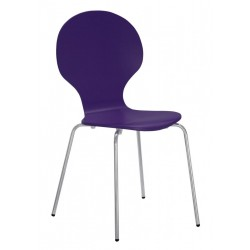 Four Fiji Round Wooden and Chrome Dining Chairs - Purple Finish