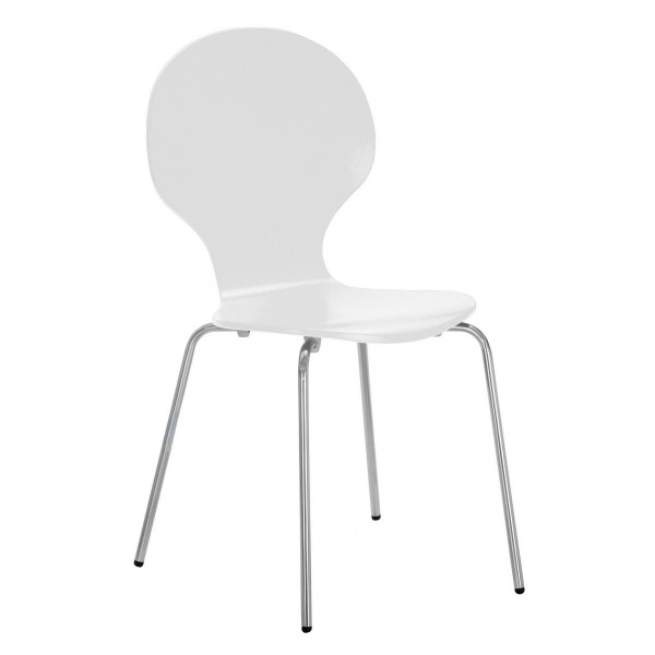 Four Fiji Round Wooden and Chrome Dining Chairs - White Finish