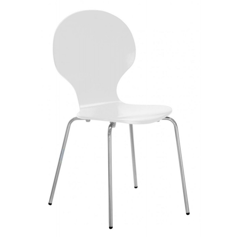 Four Fiji Round Wooden And Chrome Dining Chairs White Finish